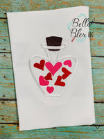 Love Potion Bottle with hearts Applique Embroidery design
