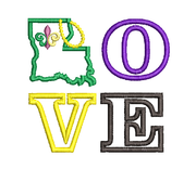 Love Louisiana Mardi Gras Beads Applique Machine Embroidery design