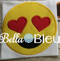 Applique Love Emoji Face Machine Embroidery Design