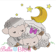 Baby Lamb Sheep Love you to the moon and back Color Blend Sketchy Embroidery