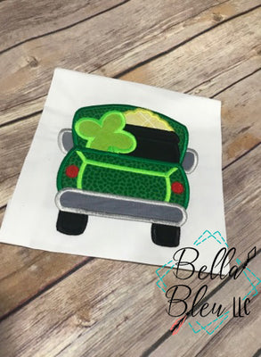 Lucky Vintage Truck Applique St Patrick's Machine Embroidery design 8x8