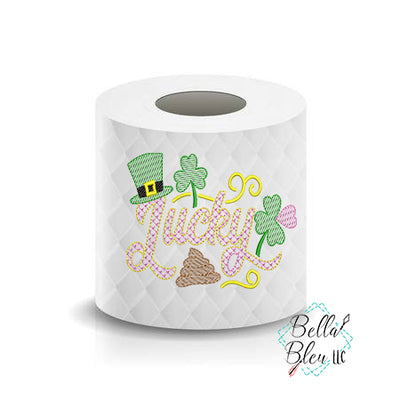Lucky Poop Shit St Patricks Day Toilet Paper Funny Saying Machine Embroidery Design sketchy