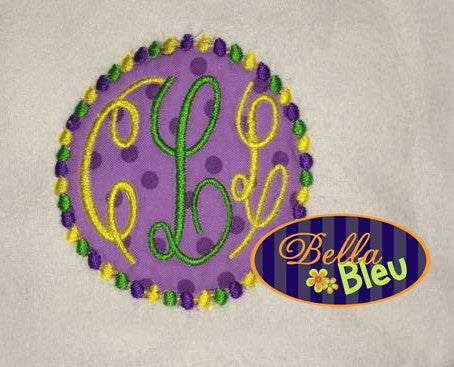 Mardi Gras Beads Monogram machine applique embroidery design