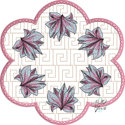Magnolia Candle Mat Greek key stipple  ITH