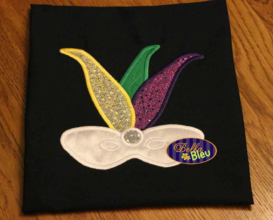 Mardi Gras Mask and Feathers Applique Embroidery Design