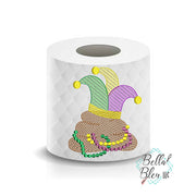 Mardi Gras Poop Toilet Paper Machine Embroidery Design sketchy