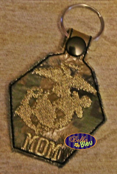 ITH in the hoop Marines Armed Forces Key Fob Luggage Tag Keychain machine embroidery