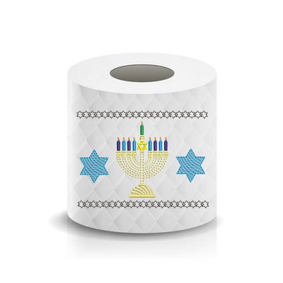 Happy Hanukkah Menorah Star of David Toilet Paper  Machine Embroidery Design sketchy