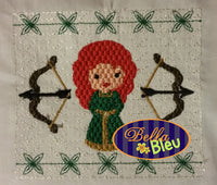Faux Smocking Smock Smocked Princess Merida Inspired Bow Machine Embroidery Design