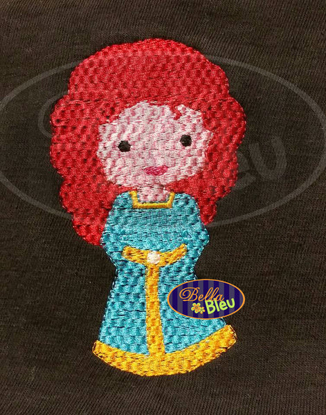 Basketweave Faux Smock Style Princess Inspired Merida Brave Machine Embroidery Design