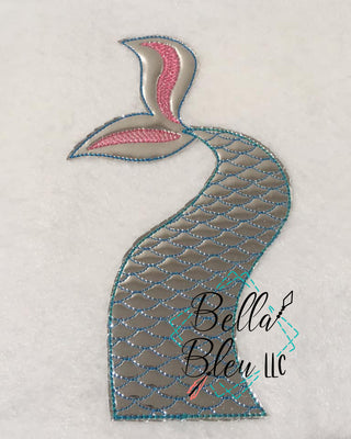 Mermaid Tail Bean stitch Applique Machine Embroidery design