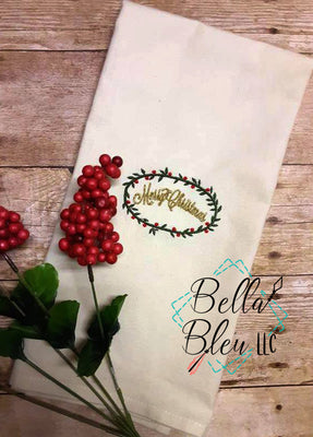 Merry Christmas with Wreath Embroidery design