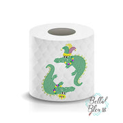 Mardi Gras Crocodile Toilet Paper Saying Machine Embroidery Design sketchy