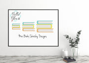 BTS Back To School Mini stack of Books Sketchy Machine Embroidery Design