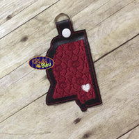 ITH in the hoop filled Mississippi State Key Luggage Tag Fob Keychain machine embroidery
