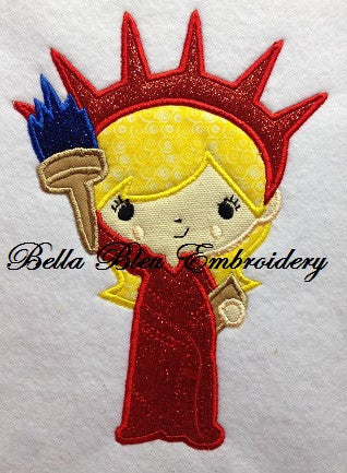 Miss. Liberty 4th of July Applique Embroidery Design Monogram Statue