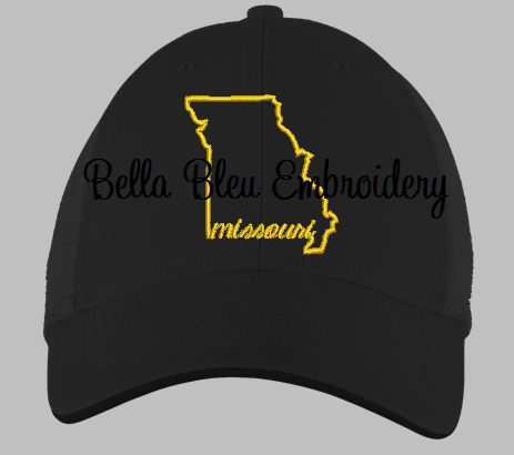 State of Missouri with Signature Missouri baseball hat cap machine embroidery design