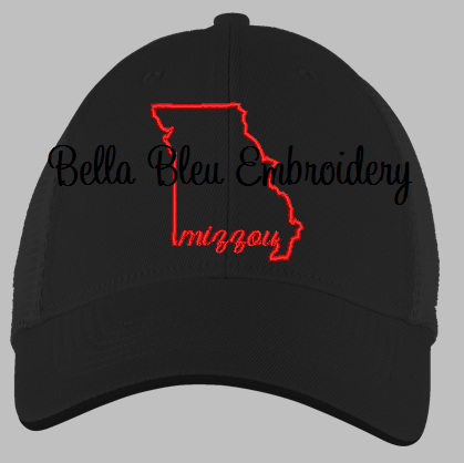 State of Missouri with Signature Mizzou baseball hat cap machine embroidery design