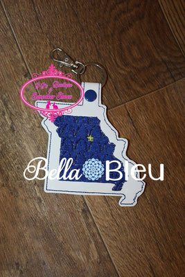 ITH in the hoop Arch Missouri State Key Luggage Tag Fob Keychain machine embroidery