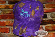 Mom Hair don't Care with Ponytail Baseball Cap Hat Machine embroidery design