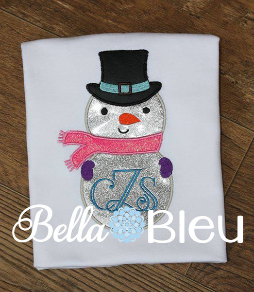 Monogram Christmas Embroidery Design, Monogram Snowman Applique Design, Christmas Machine Applique Embroidery Design