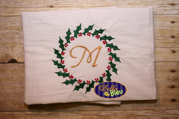 Christmas Wreath Holly Circle Design Monogram Machine fill Embroidery Design