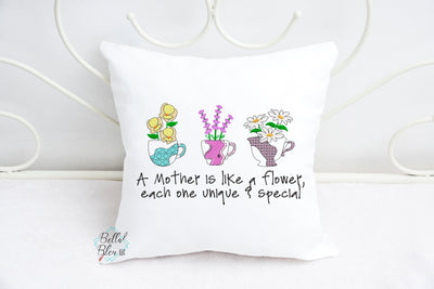 Sketchy Mother's Day Teacup Machine Embroidery Design
