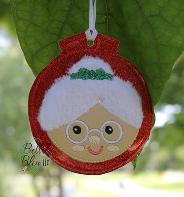 ITH Christmas Ornament Mrs. Claus Machine Applique Embroidery