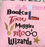 Inspired Harry Potter Reading Pillow Books turn Muggles into Wizards Machine Embroidery Design