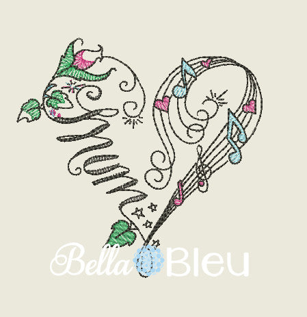 Mum Music Musical Heart for Mother's Day  machine embroidery design