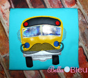 Sketchy School Bus with Mustache Machine Applique Embroidery Design 8x8