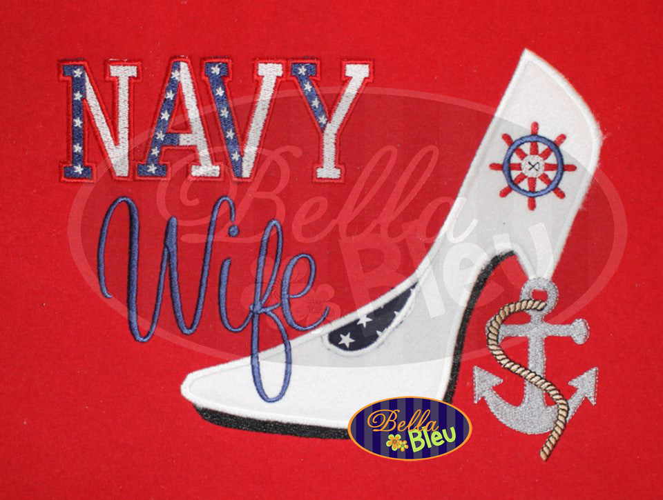 Sexy Armed Forces Navy Stiletto Heels Applique Embroidery Designs Design
