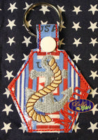 ITH in the hoop Navy Armed Forces Key Fob Luggage Tag Keychain machine embroidery