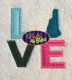 New Hampshire State Love Applique Embroidery Design Monogram