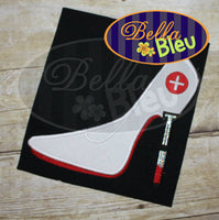 Sexy Nurse Shots Slipper Stiletto Heels Applique Embroidery Designs