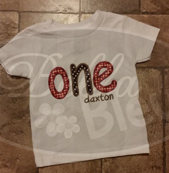 1 First Birthday Age One Wording  Embroidery Applique design machine embroidery