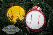 ITH Christmas Ornament Baseball Softball Machine Applique Embroidery