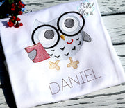 Sketchy School Owl with Glasses back to school machine embroidery design