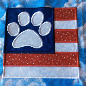 Dog Paw Print American Flag 4th of July Applique Embroidery Design