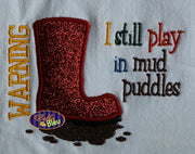 Summer time Rubber Rain Boots Wellies Puddle Jumper Mud Applique Embroidery Design