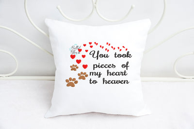 You took pieces of my heart to heaven paw print Dog Cat Memorial Machine Embroidery filled design