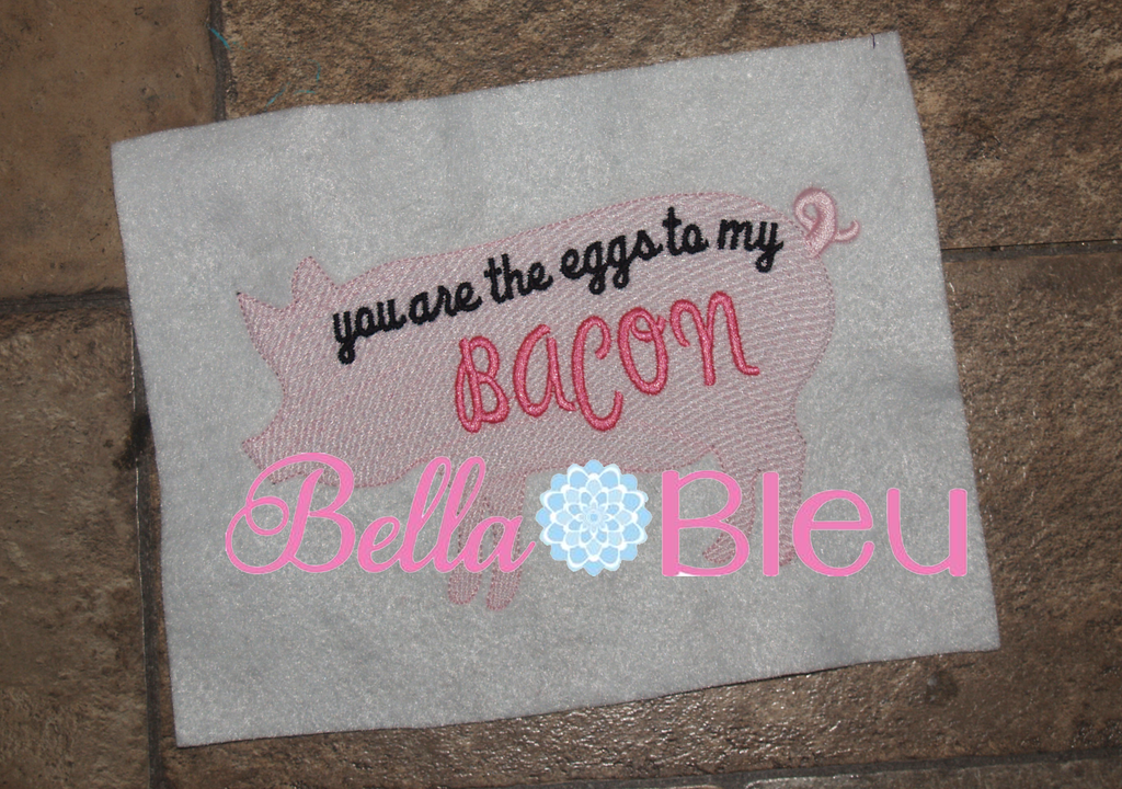 "Saying ""You are the eggs to my backon"" Pig Kitchen Towel Machine Sketchy Embroidery Designs"