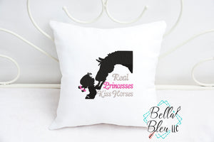 "A girl and her Horse ""Real Princesses Kiss Horses"" embroidery design"