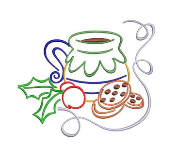 Christmas Milk Pitcher and Cookies  Machine Embroidery Design