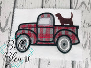 Vintage Plaid Red Truck with Hunting Dog Sketchy