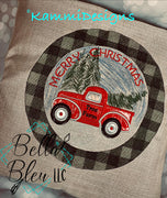 Holiday Scene with Vintage Truck Applique Scribble Sketchy