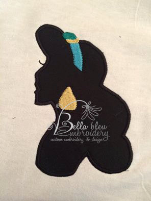 Princess Jasmine inspired Silhouette Applique Embroidery Designs Design