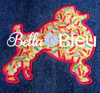 French Poodle Dog Applique Machine Embroidery Design