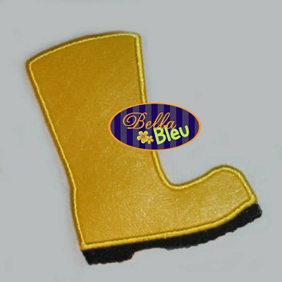 Summer time Rubber Rain Boots Wellies Applique Embroidery Designs Design