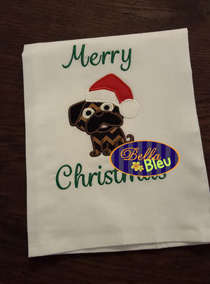 Christmas Santa Pug dog Machine Applique Embroidery Design